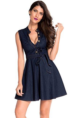 Buy belted denim dress - 4