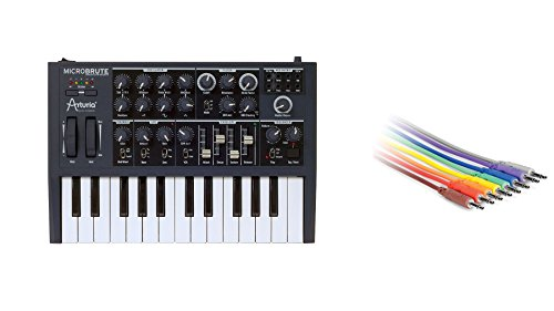 Arturia MicroBrute Bundle with Hosa CMM-845 18-inch CV Patch Cable 8-Pack (2 Items)
