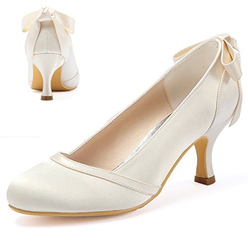 ElegantPark HC1804 Women Pumps Mid Heel Closed Toe Bows Satin Wedding Bridal Shoes Ivory US 9 ()