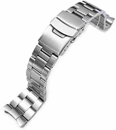 22mm Super-O Boyer Watch Bracelet for Seiko Diver SKX007 SKX009 Solid Curved End