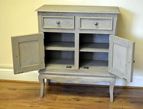 Bordeaux Antique Grey Solid Mango Shabby Chic Vintage Slim Sideboard Cupboard Hall Cabinet Living Dining Room Furniture