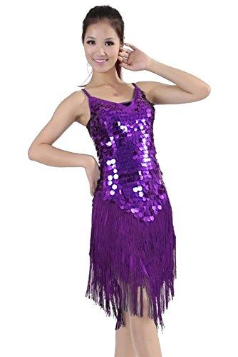 Púrpura de Mujeres alta Club Disfraz Noche Borla Sin Latino Traje Baile Respaldo Competencia KINDOYO Sin Gama de Traje Mangas Traje Disfraz de Baile de 5gxxYaqwF