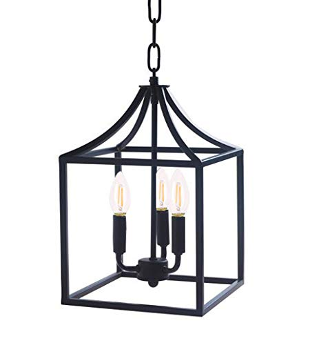 Houzlamod Marden 3-Light Chandelier, Industrial Style Lighting for Entryway,Hallway and Dining Room – Matte Black Finish
