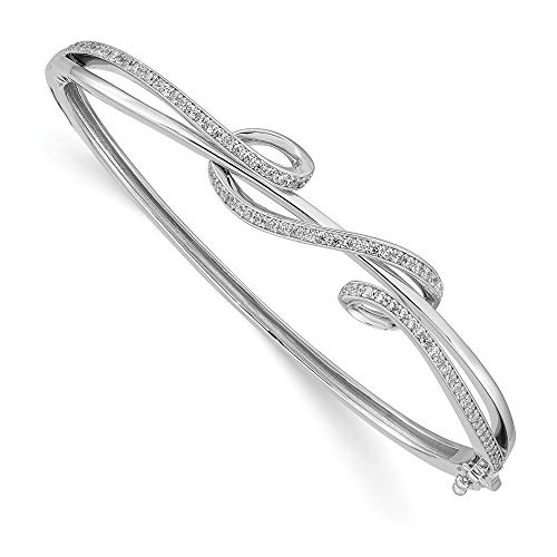 - 925 Sterling Silver Cubic Zirconia Cz Bangle Bracelet Cuff Expandable Stackable Hinged Fine Jewelry Gifts For Women For Her
