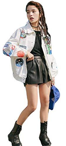 Elegante Battercake Fashion Anchas Casuales Otoño Mujer Manga Parche De Prendas Abrigos Boyfriend Casual Exteriores Blanco Divisa Primavera Solapa Mujeres Larga Outerwear Chaqueta 6EBwqnr6