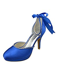 Minishion Y017T Womens Stiletto High Heel Satin Evening Party Bridal Wedding Strappy Shoes