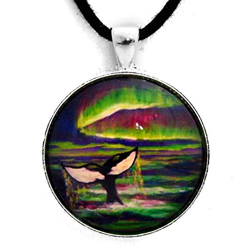 Orca Whale Tail in Aurora Borealis Necklace Pendant Handmade - Mammals Gallery