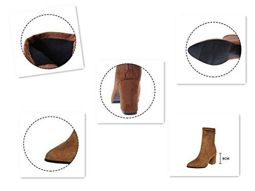 Ein bißchen Damen Fashion Runde High-Top Dick Sohle Casual Stiefel braun -MS