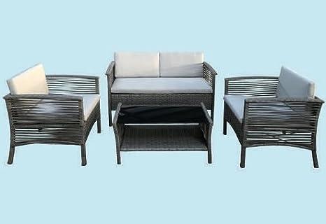 GDLC Juego Jardín Ratán Chill-out 2 sillones con sofá y ...