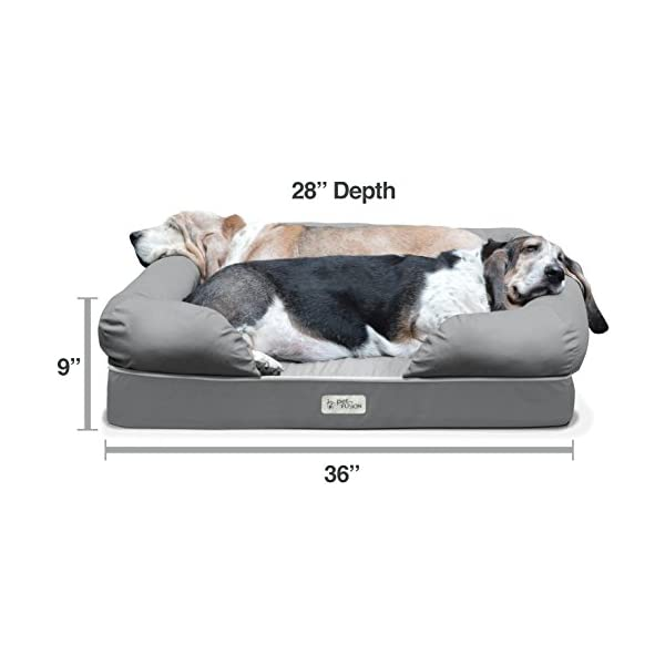 PetFusion Ultimate Dog Bed & Lounge. (Large Gray, 36 x 28 x 9.5). Premium Edition w/Solid 4 Memory Foam. [Replacement… Click on image for further info. 2