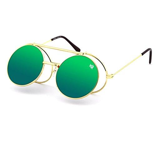 de vintage homme ronde soleil Lunettes Or Vert FLIP PICCADILLY mod femmes MYRETRO® UP TxwUwgvq
