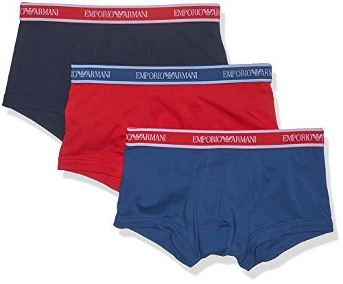 - Emporio Armani Men's Core Logoband 3-Pack Trunk, Cobalt/red/Marine, Medium