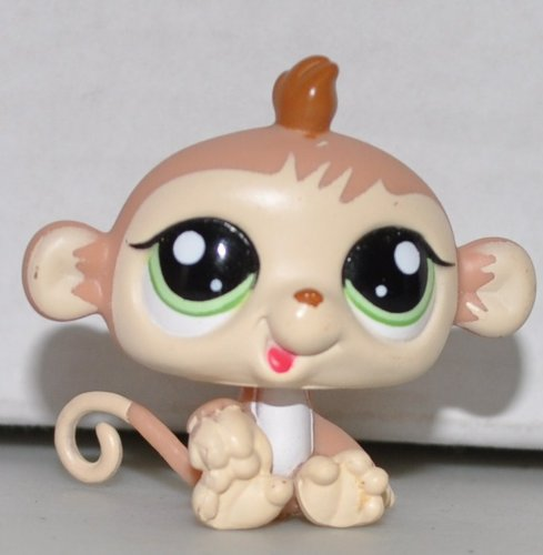 (Baby Monkey (Tan, Green Eyes) - Littlest Pet Shop (Retired) Collector Toy - LPS Collectible Replacement Single Figure - Loose (OOP Out of Package & Print))