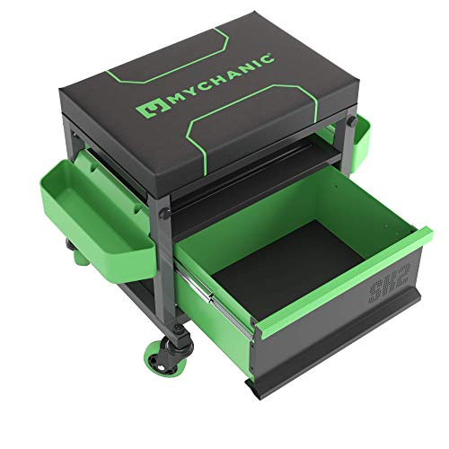 MYCHANIC Sidekick Rolling Mechanic Stool - 500 Lb Capacity Garage Toolbox Stool - Adjustable Height Mechanic Creeper Seat - Large Drawer, 3-Inch Casters and Tool Caddy - Powder Coated Steel Frame