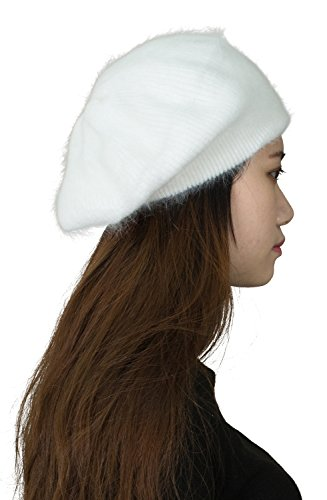 Fine Ribbed Womens Angora Knit Winter Beanie Hat,Cream