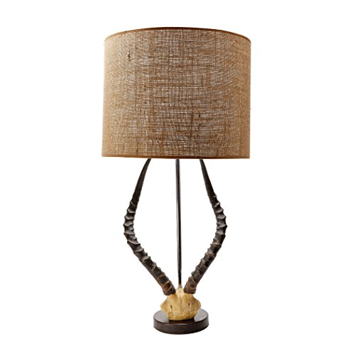 Manhattan Collection Faux Horn Table Lamp In Brown With Burlap - Lamp Horn Italian