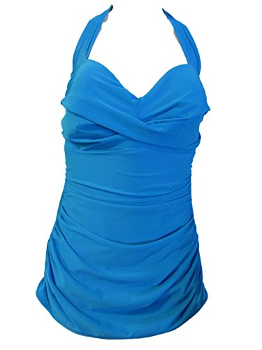 MIRACALESUIT Miraclesuit Women's One Piece Swimsuit Halter Trimshaper (Turquoise Blue, 12)