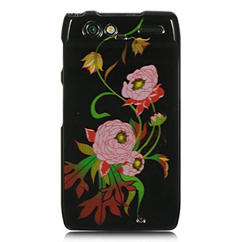 (Insten Peony Rubberized Hard Snap-in Case Cover Compatible with Motorola Droid Razr XT912, Black/Pink )