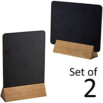 Set Of 2 Tabletop Double Sided Chalkboard Display Signs, Placeholders W/  Wooden Base Stands