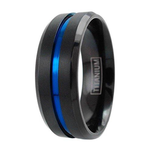 Personalized Engraving Modern 6mm & 8mm Black Titanium Wedding Band w/ Thin Blue Line Stripe. (titanium (8mm), 12) (Mens Ring Modern)