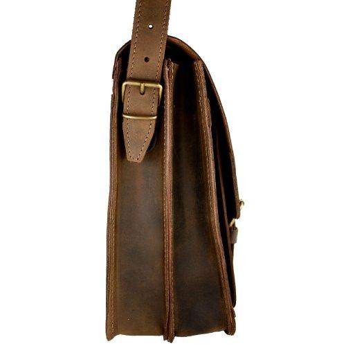 DELARA Aktentasche aus hochwertigem Leder mit Schulterriemen und Lederpflege - Made in Germany