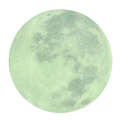 WINOMO Full Moon Wall Stickers Creative Glow in the Dark Light Luminous Wall Art Decals for Home Room Decor(Grey)