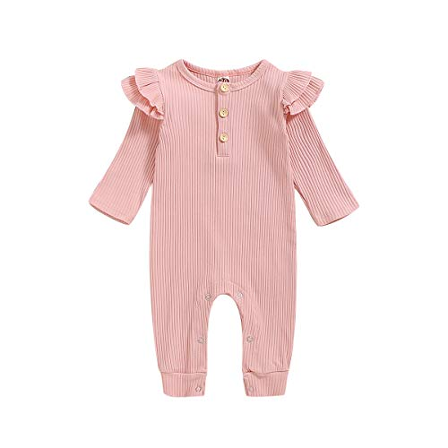 Fall Bodysuit for Infant Baby Girl Boy Long Sleeve Cotton Romper with Kangaroo Pocket (Fly Sleeve Pink, 3-6 Months)