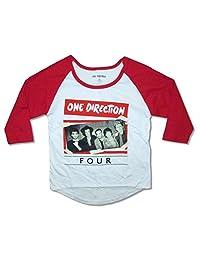 One Direction Taped Up Band Image Girls Juniors Raglan Shirt
