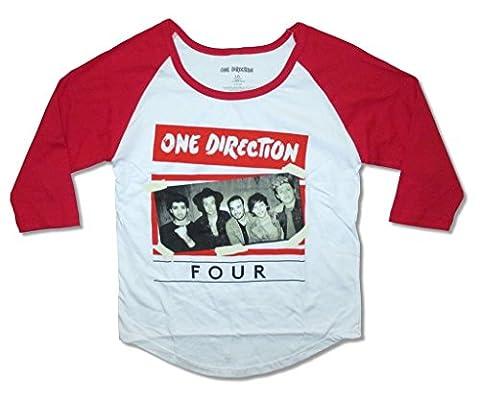 One Direction Taped Up Band Image Girls Juniors Raglan Shirt (XL) (1 Direction Tour Shirt)