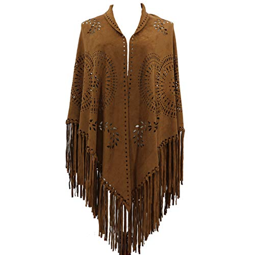 ZOFZ Fashion Suede Laser Cut Fringed Cape Shawl Wrap Scarf 4 Colors - Suede Fringe