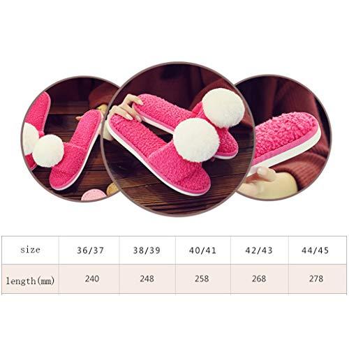 Light Nette Hausschuhe Unterseite 36 37EU Rutschfeste größe Startseite Dicke Paar Cartoon AMINSHAP Mit Warme Tasche pink Weibliche Hausschuhe Baumwolle Plüsch Farbe Modelle w0gq5w7TAx