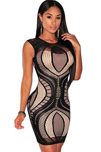 NEW Mesdames noir & Nude Mini robe en dentelle Club robe d'été Casual Party robe taille UK 12EU 40