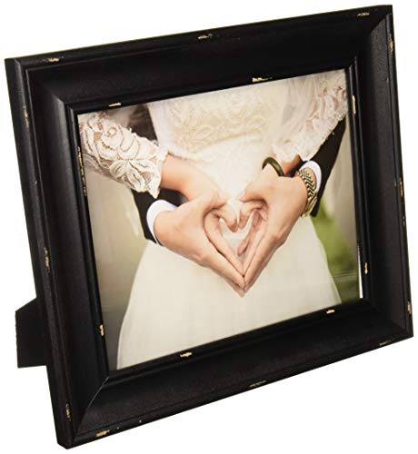 DII Z02238 Rustic Farmhouse Distressed Wooden Picture Frame for Wall Hanging or Desk Use, 8x10, - Black Picture Distressed Frame Wide