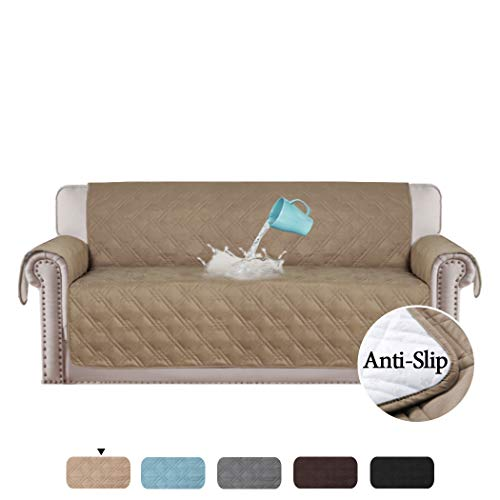(H.VERSAILTEX 100% Waterproof Couch Covers for Sofa Plush Couch Protectors from Cats Scratching Furniture Protector for Dogs Cats Protect from Pets, Spills, Wear and Tear (Sofa: Taupe) - 75