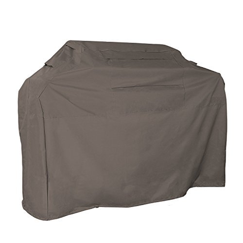 KHOMO GEAR - Titan Series - Waterproof Heavy Duty BBQ Grill Cover - Grey Large 64 x 24 x 48 - Different Compatible with Weber (Genesis), Holland, Jenn Air, Brinkmann, Char Broil, Kenmore and More