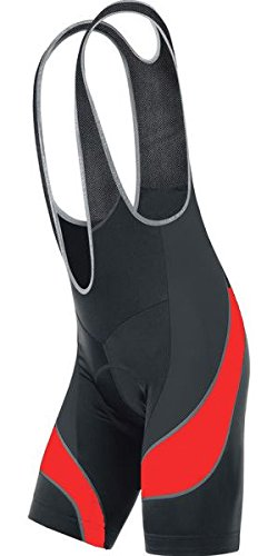 Men's Cycling Bib Shorts with 3D Gel Coolmax Pads (M, Black/Red)