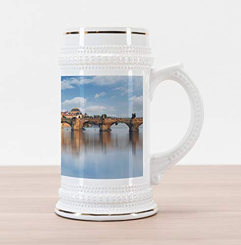 Lunarable Wanderlust Beer Stein Mug, Charles Bridge in Prague Czech Republic Reflection on River Towers, Traditional Style Decorative Printed Ceramic Large Beer Mug Stein, Pale Blue Sand Brown