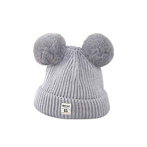 1f725fd3df81b ZHOUBA Baby Boys Girls Bobble Knit Beanie Hat Plush Ball Ears Toddlers  Winter Warm Double Pompom Cap (Grey) - Buy Online in Oman.