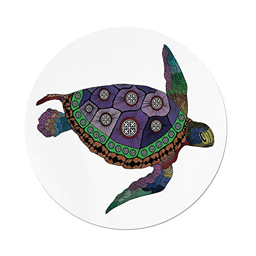 iPrint Polyester Round Tablecloth,Psychedelic Decor,Sea Turtle with Colorful