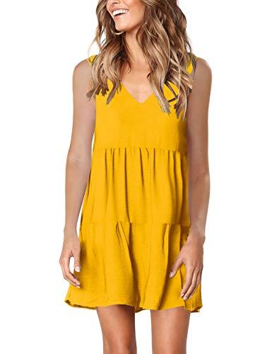 Yellow Soft Dress - Amoretu Women Summer Soft V Neck Sundress Beach Cover up Plain Pleated Tank Dress Yellow L