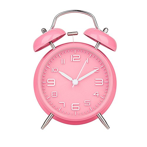 Alarm Clock for Heavy Sleepers, Warmhoming Retro Twin Bell Loud Alarm Clock with Battery Operated (Pink)