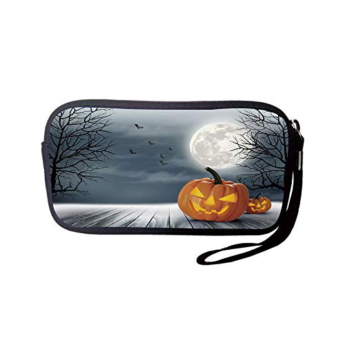 Neoprene Wristlet Wallet Bag,Coin Pouch,Halloween,Cold Foggy Night Dramatic Full Moon Pumpkins on Wood Board Trees Print,Grey Orange Black,for Women and Kids ()
