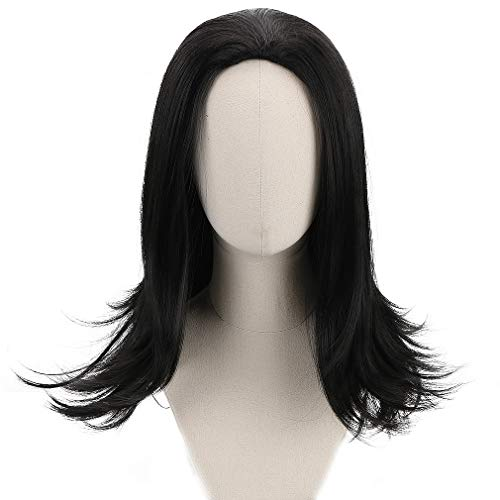 Long Black Cosplay Loki Wig Men Boys Synthetic Full Head Straight Anime Hair Wigs for Party Costume Halloween]()