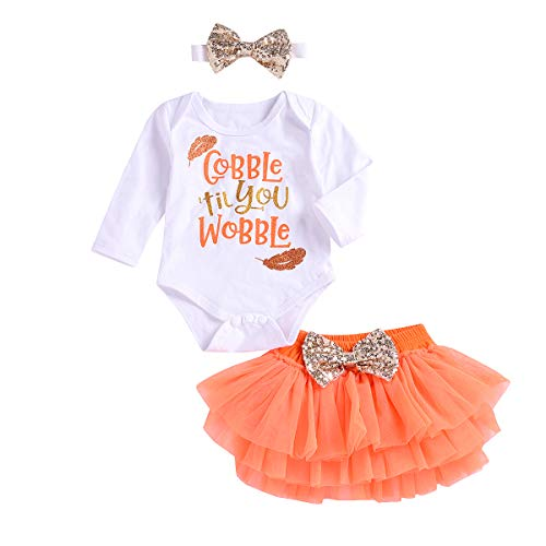 Thankgiving Outfits Set Baby Girls Gobble 'Til You Wobble Long Sleeve Romper + Pleated Tutu Skirts (White, 18-24 Months)