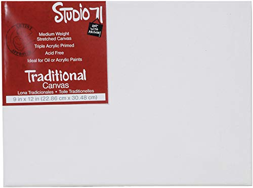 """Darice Studio 71 Medium Weight Traditional Stretched Canvas – 9"""" x 12"""" Canvas for Oil or Acrylic Paints, Triple Acrylic Primed Canvas on a Wood Frame ()"""