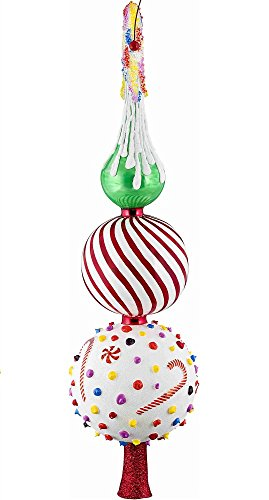 Glitterazzi Candy Theme Finial Polish Glass Christmas Tree Topper 16 Inch New by Joy To The World (Image #1)