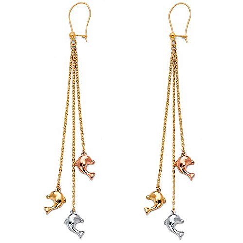 - Women's 14k Tricolor Gold Dangling Dolphin Earrings (2.67 in x 0.23 in)