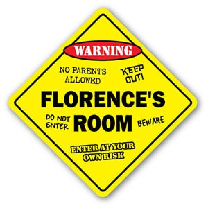 Florence Bedroom (FLORENCE'S ROOM Sticker Sign kids bedroom decor door children's name boy girl gift)