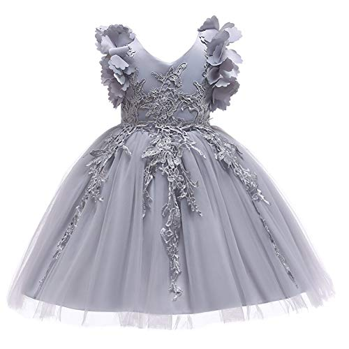 Weileenice 1-12T Big/Little Girl Flower Lace Dresses Bowknot