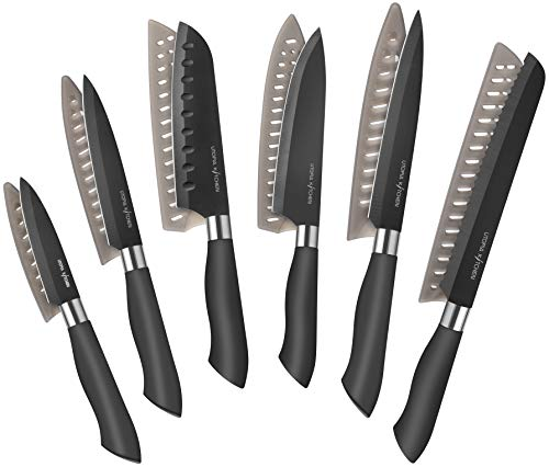 Utopia Kitchen 12-Piece Black Colored Knife Set with Black C